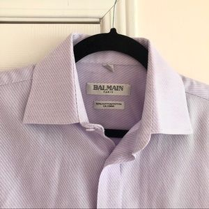 Balmain Shirts - BALMAIN Cotton Purple Textured Dress Shirt NonIron